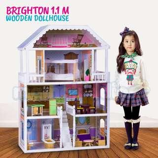 Large 1.1 M Miniature Wooden Barbie Doll House With Complete Furniture Playset