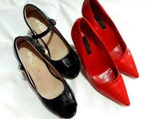 Closed Classic Red Heels and Black Heels shoes Bundle
