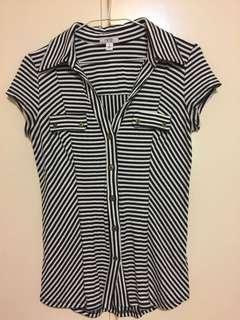 🚚 彈性白底黑條紋襯衫式上衣