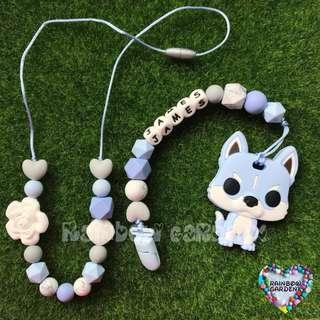 Handmade beads necklace & Pacifier Clip with customisation of name + Pastel Blue Dog teether