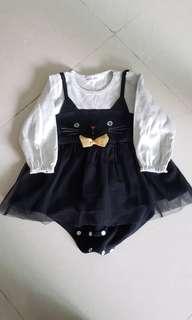 黑色貓咪紗裙 bb裙 女嬰80碼
