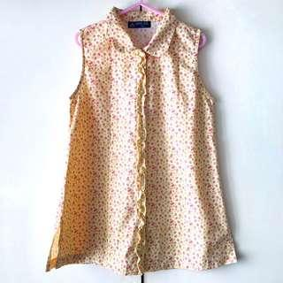 Ricer Kids Girls' Yellow Floral Sleeveless Top (Size 130)