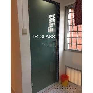 Frameless Tempered Glass Frosted Swing Door