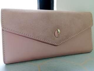 Baby pink faux leather wallet