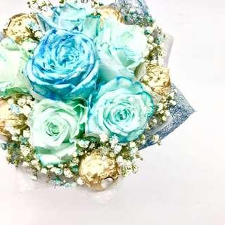 🚚 Coral Blue Rose with Ferrero rocher Bouquet 💐