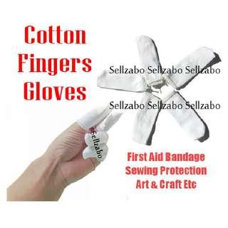 Ten Pcs Cotton Cloth : Stretchable : Fingers Slots : Gloves : Bandages : White Colour : First Aid : Injured : Injury : Wounds : Cuts : Bleeding : Covers : Arts : Sew : Sewing : Craft : Protect : Protection : Protecting : Sellzabo