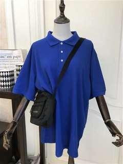 Blue oversized polo