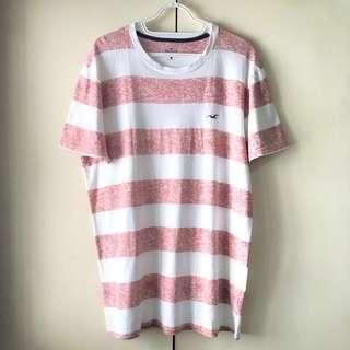Hollister Men's White / Pink Shirt (Size L)