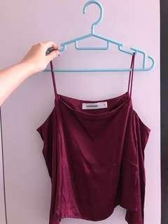 🚚 Editor's Market Maroon Off Shoulder Top