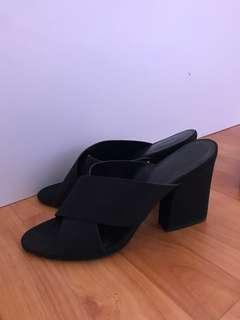 🚚 charles and keith Black heels/open toe slip on