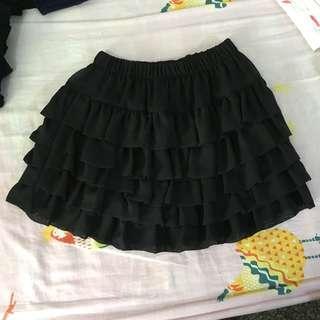黑色蛋糕裙短裙