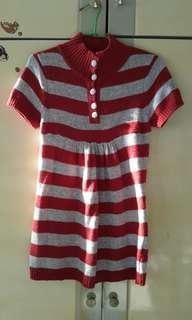 紅灰針織長版短袖上衣