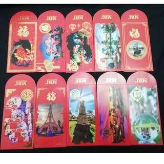 10 pcs full set 2019 MBI red packets packet angpow ang pao pau pow new