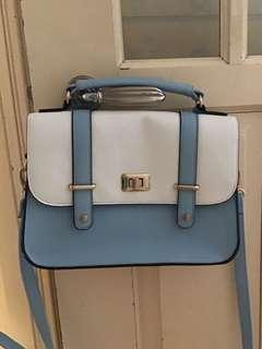 Baby Blue and White Classic Satchel Faux Leather Handbag