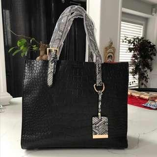 Brand New Black Very Soft Synthetic Leather Handbag