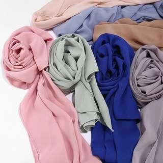 Instock Textured Premium chiffon shawl hijab 4for$30