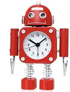 (E1236) Betus Non-Ticking Robot Alarm Clock Stainless Metal - Wake-up Clock with Flashing Eye Lights and Hand Clip (Ruby Red)