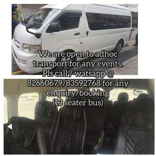Van 13 seater for rent (with driver)