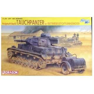 DML 1/35 - PzKpfw IV Ausf E Tauchpanzer Tank Kit w/Fuel Trailer & Drums kit