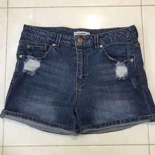 pull&bear dark denim ripped shorts