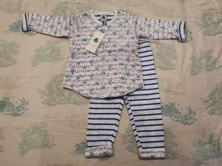 Petit Bateau girls baby long sleeves shirt set pant