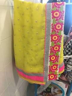 Lemon Yellow Synthetic Saree with embroidery