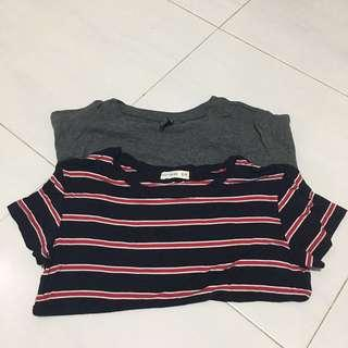 Crop Top/Striped Shirt