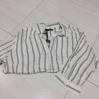 BNWT Striped Blouse/Striped Collared Top