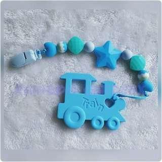 Handmade Pacifier Clip + Blue Train teether combo
