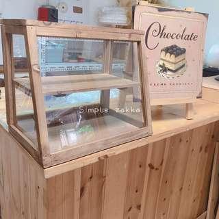 簡單雜貨-日本zakka木質做舊復古玻璃櫃