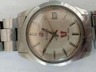 古董雷達紅海馬自動日曆男装表,原装表帶,剛抹油,行走正常,37mm,品相如圖。