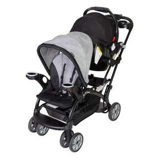 Baby Trend Sit N' Stand® Ultra Double tandem Stroller and Flex Lock Car Seat