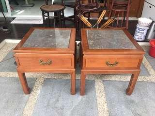 Rosewood Side/ bedside Tables with marble TOP