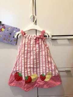 GYMBOREE 粉紅x白條子水果連身裙