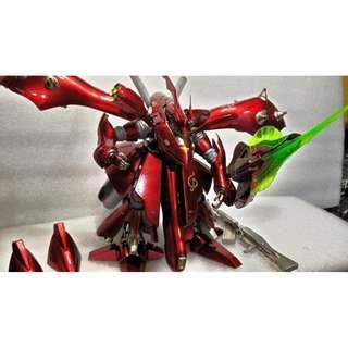 RE/100 neo zeon 塗裝完成品 nightingale 夜鷹 msn-04-02 鋼彈 類金屬塗裝 鋼鐵人