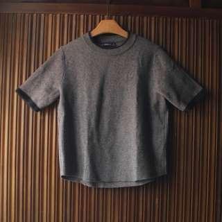ZARA 灰色滾邊典雅針織彈性短袖 L 近全新