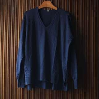 MUJI 無印良品寶藍色長袖V領寬版輕薄針織衫 XL