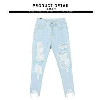 Ripped Denim Jeans Light Wash