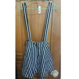 全新/黑白條紋吊帶裙