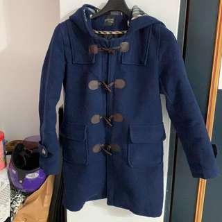 🚚 韓版牛角釦寶藍大衣