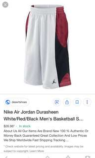 c296fb3b1f5999 Nike Air Jordan Durasheen White Red Black Men s Basketball Shorts