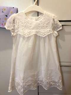 H&M 白色刺繡網紗連身裙