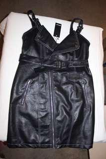 Faux Leather Biker Dress