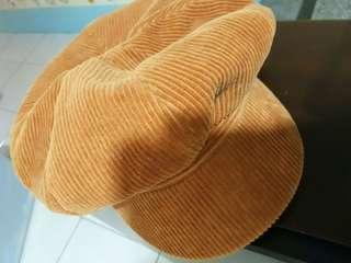 🚚 土黃色燈芯絨報童帽
