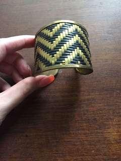 Gold/black woven cuff