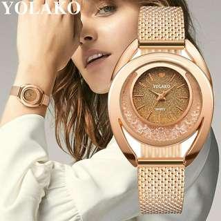 Jam Tangan Wanita Murah Quartz Diamond Plastic Leather Anti Air