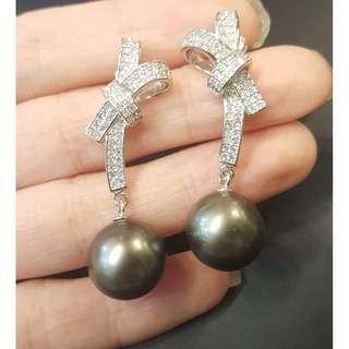 Tahitian pearl earring 12.5mm 925