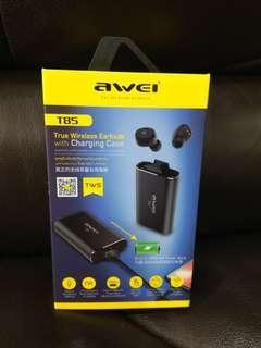 Awei t85 v5 二合一無線藍牙耳機 外置充電器