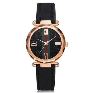 Jam Tangan Wanita Murah Quartz Magnet Starry Sky Leather Anti Air