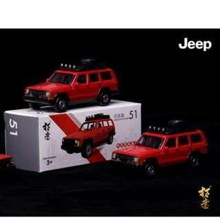 拓意合金小汽車模型玩具 @ 51切諾基 紅色